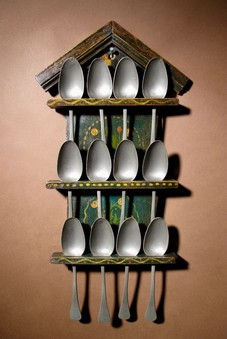 Antique A Dutch Very Decorative and Original Painted Spoon Rack.