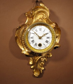 Antique A Delightful Very Small Gilded French Cartel D'alcove Clock In the Louis Quinze Style, Circa 1900.