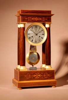Antique A Very Stylish Charles X Rosewood/Palisandre Inlaid With Lemon Wood and Ormolu Portico Clock Circa: 1830