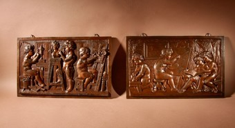 Antique An Original Pair Of Pewter Reliefs Sculpture With The Subject Of A Painters and Sculptor Studio.