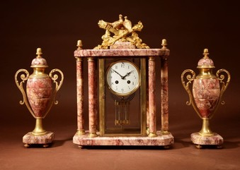 Antique A Very Decorative French Gilded Brass And Marble Clock Garniture.