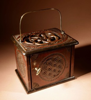 A Dated Dutch Frisian Fine Chip carved Hardwood and Ebonised Foot Stove. Dated: 1902