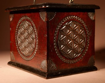 Antique A Dated Dutch Frisian Fine Chip carved Hardwood and Ebonised Foot Stove. Dated: 1902