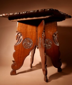 Antique  An original very fine carved Indian folding table made in Srinagar circa 1900/1920