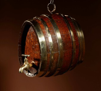 Antique   A Very Rare And Beautiful Coopered Oak And Brass Small Hanging Barrel.