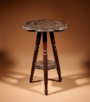 A Useful Carved Hardwood Site Table / Plant Stand,  India circa 1900/20