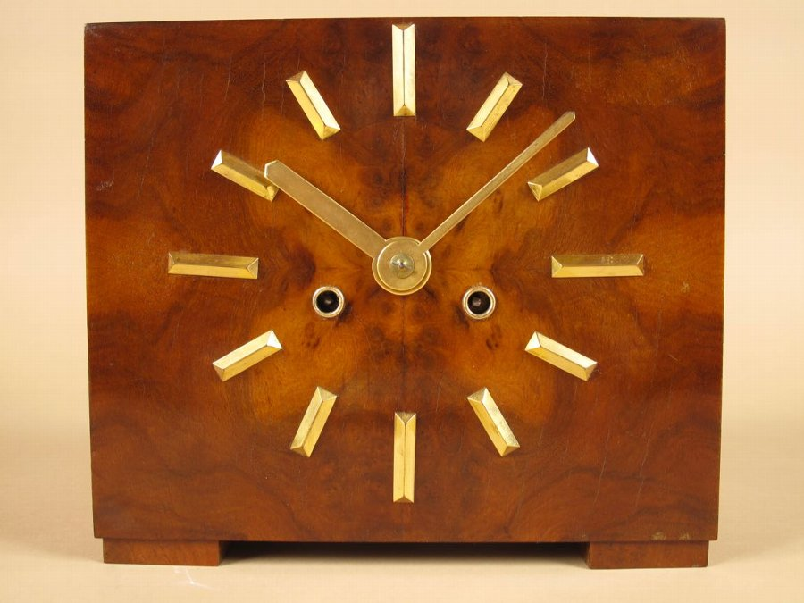 Antique Very Stylish Art Deco Walnut and Ormolu Mantel Clock.