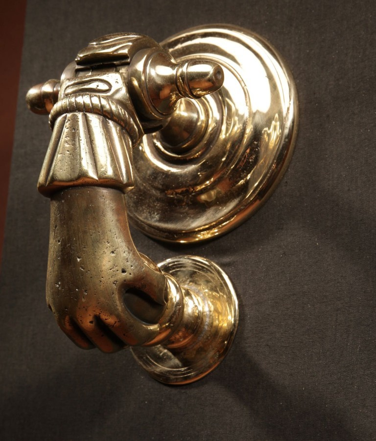 An Interesting Bronze Door Knocker In The Shape Of A Hand. continental 18th century