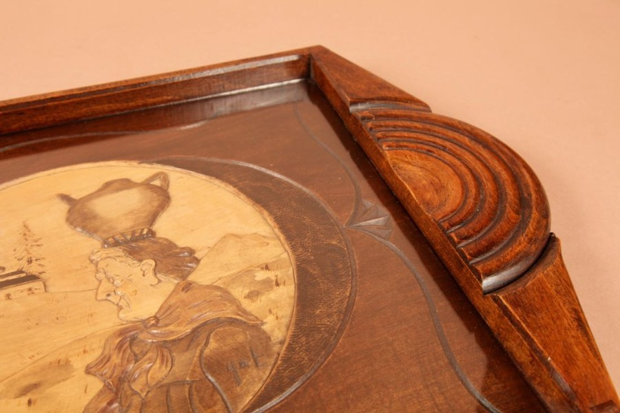 Antique An Art Deco Very Stylish Carved Wooden Tray. Circa 1920