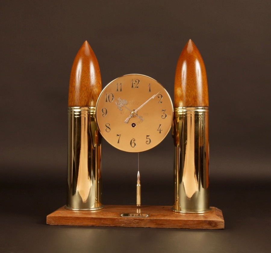 WW1- 1914-1918 Interest, A Historical Interesting Mantel Clock Made From Brass Grenade Shells And...