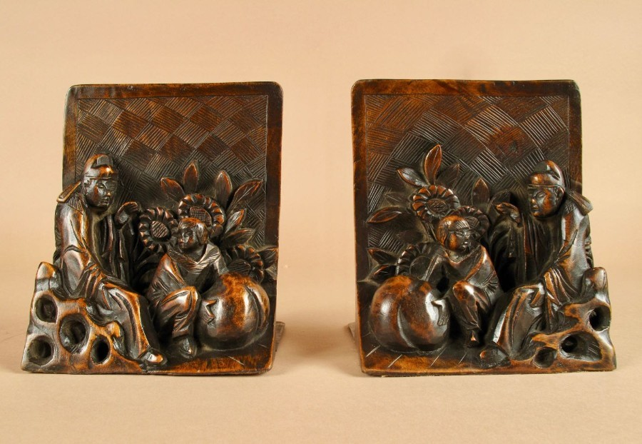 An Interesting Pair Of Chinese Carved Wooden bookends, Circa 1900