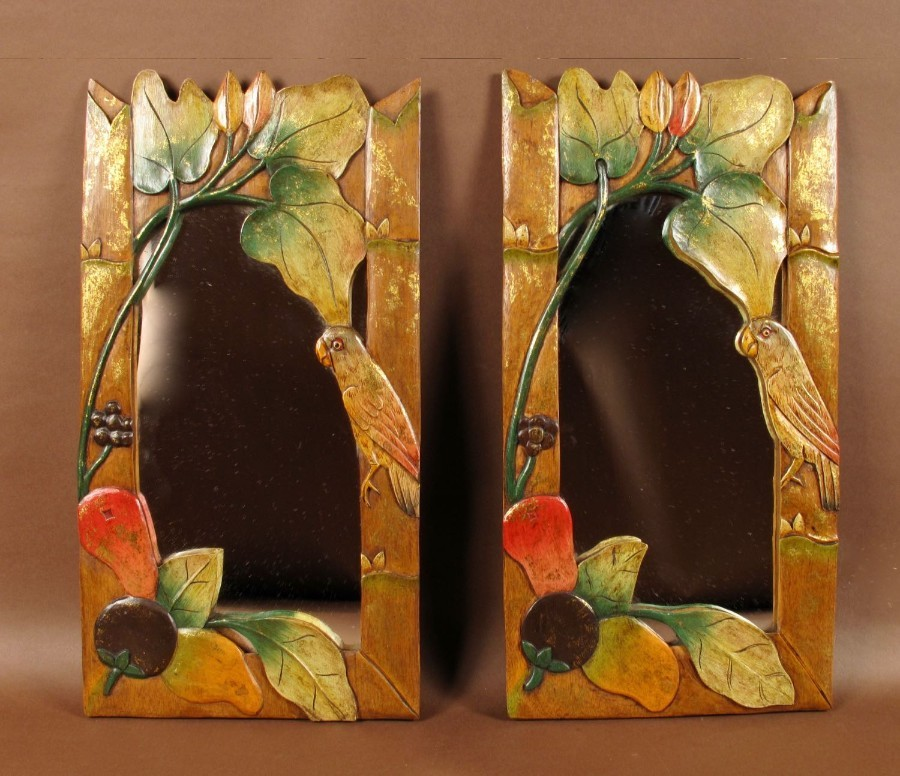 Two Very Decorative And Interesting Mirrors, Oriental, circa 1960