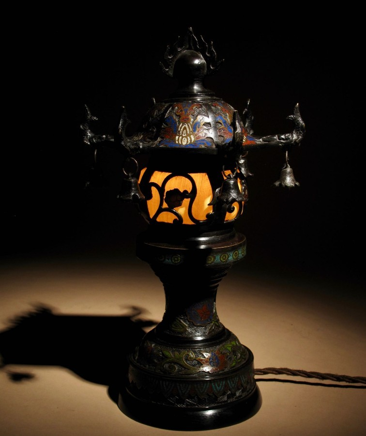 A Rare And Very Decorative Japanese Bronze Champlevé Table Lamp.