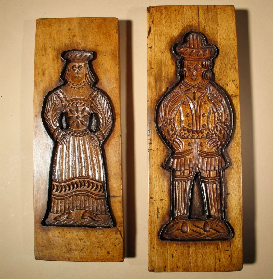 A Dutch Pair Of Two Very Decorative and Beautiful Carved Gingerbread Fruitwood Moulds.