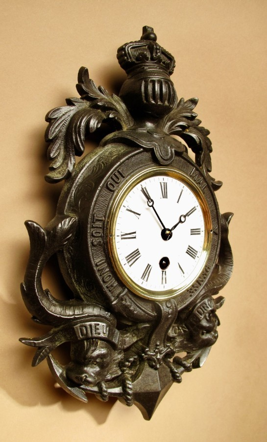 Antique English Interest! A Very Decorative Type Of Coat Of Arms Cast Iron Wall Clock.