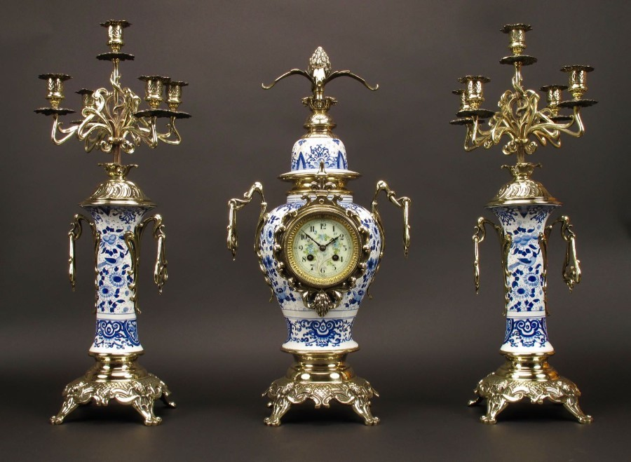 "An Impressive Blue And White  ""Dutch Delft"" And Brass Art Nouveau Clock Garniture. French Circa 1..."