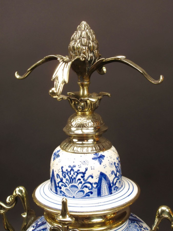 "Antique An Impressive Blue And White  ""Dutch Delft"" And Brass Art Nouveau Clock Garniture. French Circa 1900."