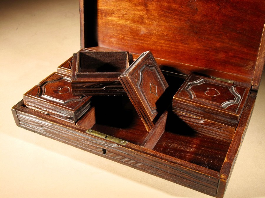 Antique A Fine Carved Black Forest Game Box Set Circa:1900.