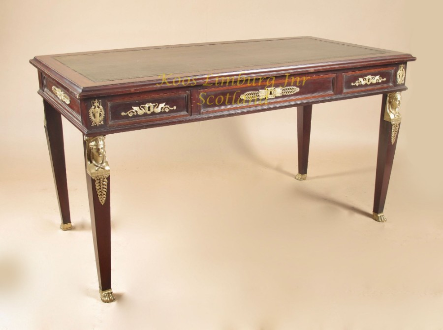 A very decorative and useful French mahogany Bureau-Plat, (writing table)