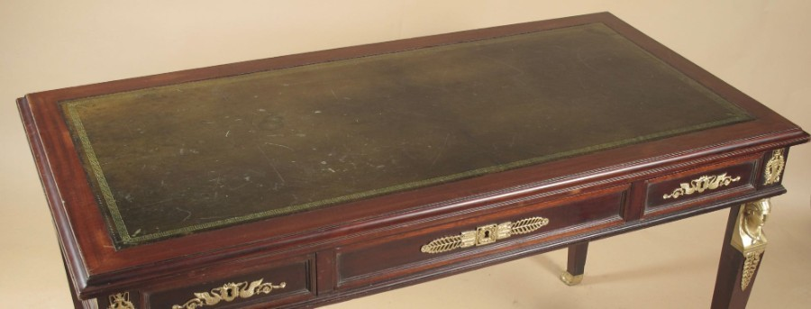 Antique A very decorative and useful French mahogany Bureau-Plat, (writing table)