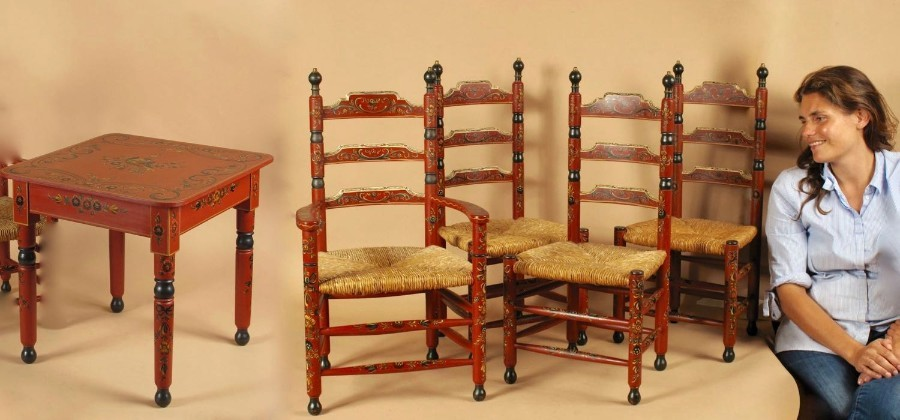 A Beautiful set Of Original Hindeloopen Child Furniture.