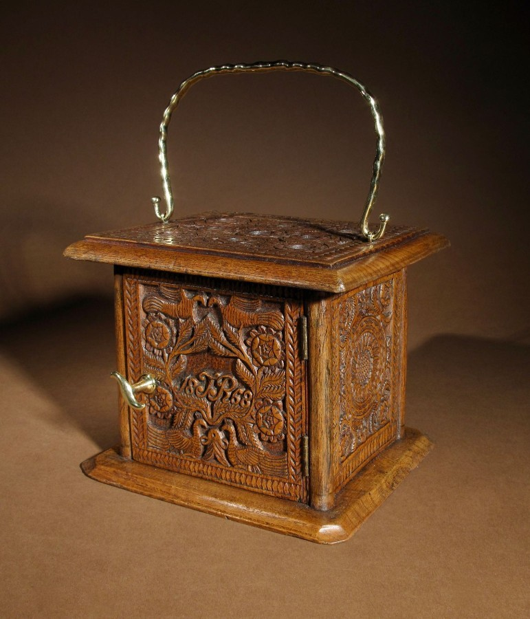 A Dated Dutch Frisian Fine Chip carved Oak Foot Stoof/Stove Dated: 1868