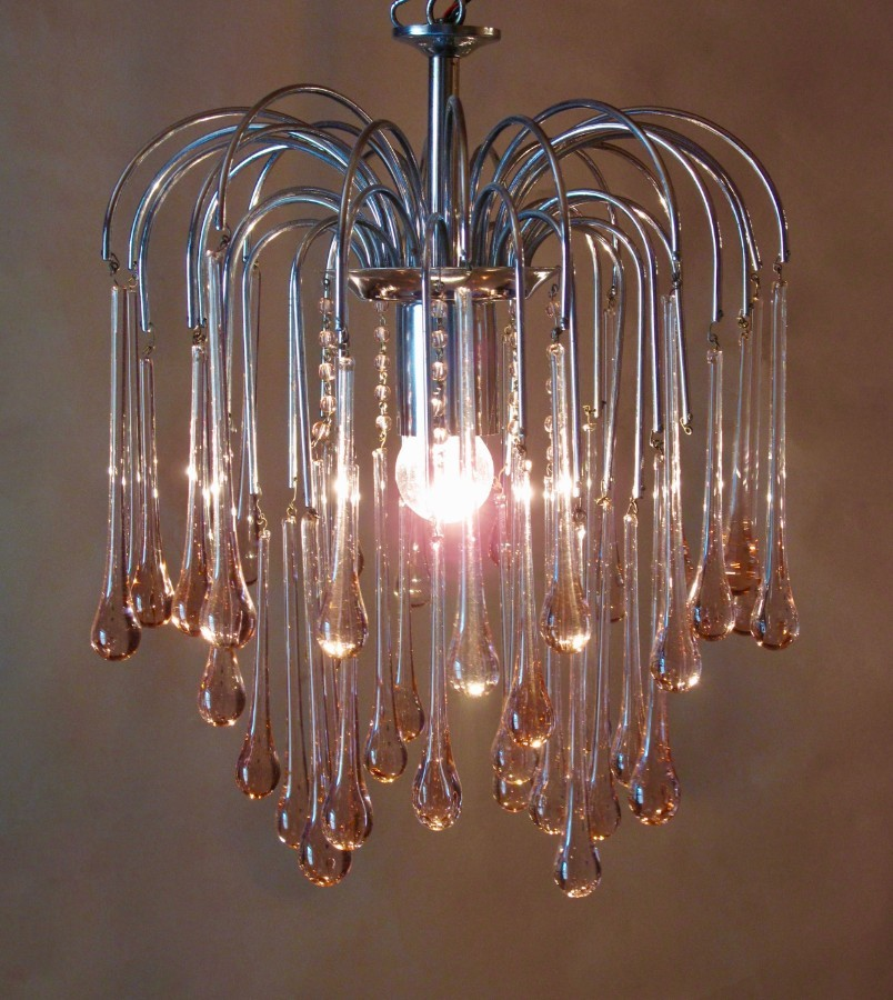 A very decorative Murano Paolo Venini Design Teardrop Glass Chandelier 1960's
