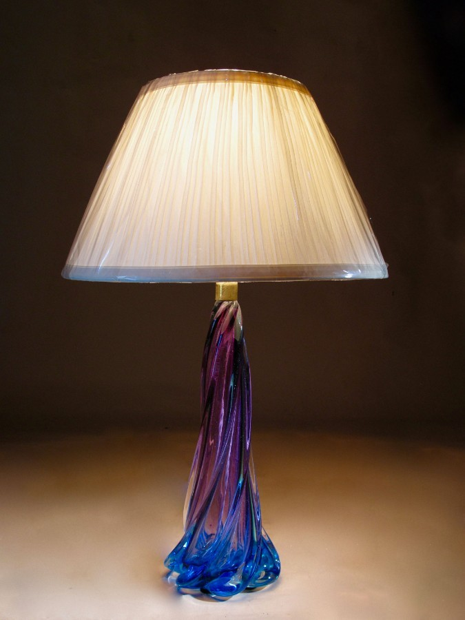 An interesting Murano glass table lamp base with Original makers Label and of beautiful deep strong colours of blue and purple.