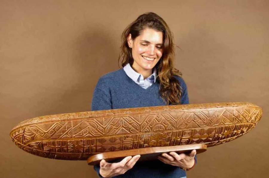 An magnificent important and beautifully carved large long wooden bowl, from the: MARQUESAS islan...
