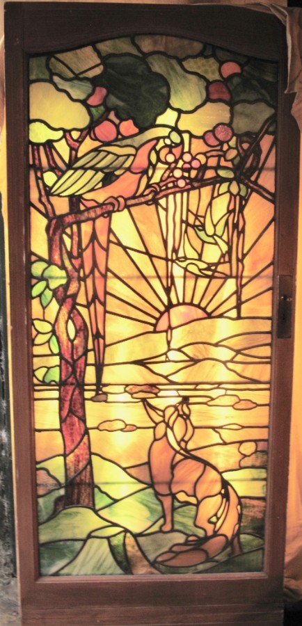 A Large very decorative and unusual Tiffany Style Leaded Glass Parrot and Fox Door circa 1900