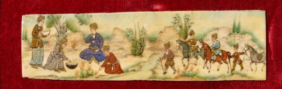 Antique Three Persian Miniature Paintings Of A Hunting Party on Ivory/Bone, Circa 1920