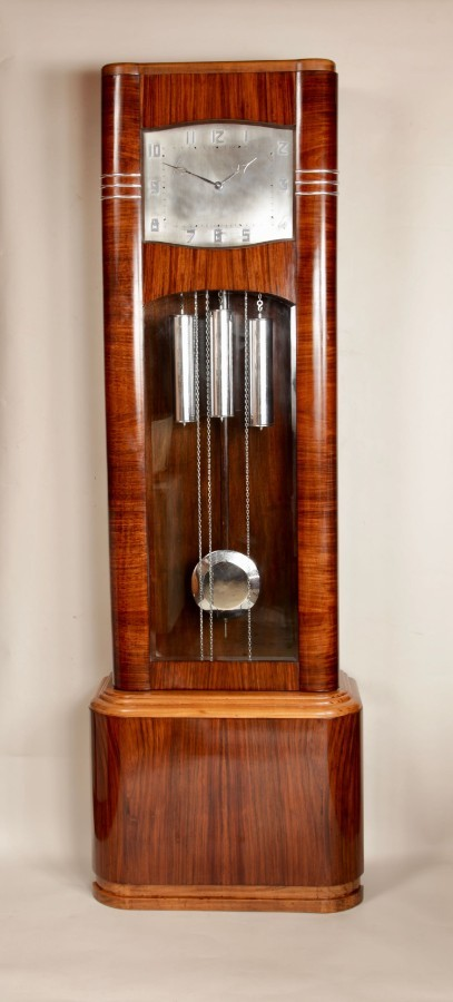 Art Deco Very Stylish Design Rosewood and Maple Wood Longcase Clock.