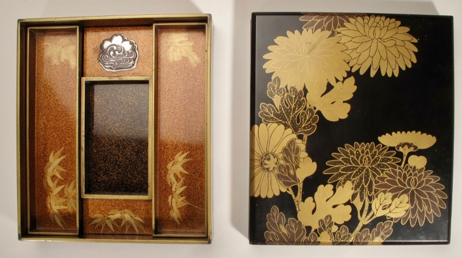 Very Decorative Japanese Meiji Lacquer Suzuribako 1886-1912