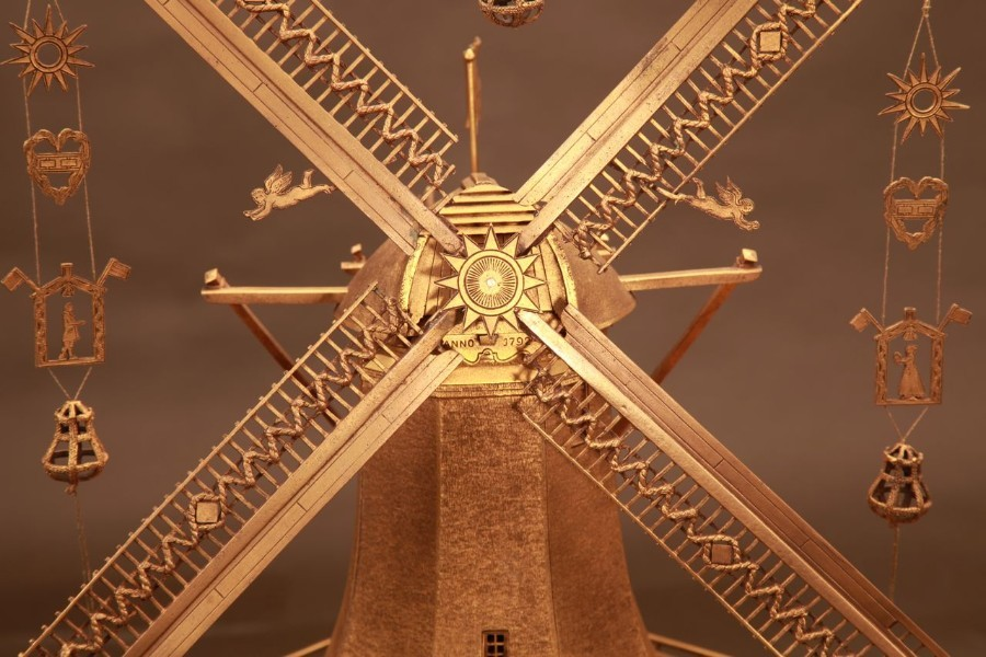 Antique A magnificent very detailed gilded bronze large model of a Dutch windmill. Made by the silver smith A. Schoorl in Amsterdam