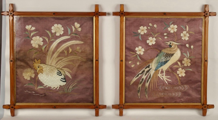A very decorative pair of Japanese Birds embroideries, still in the original very decorative fram...