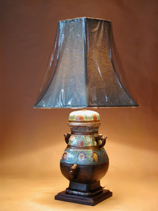 Oriental Bronze Champlevé Table Lamp Vase circa 1900