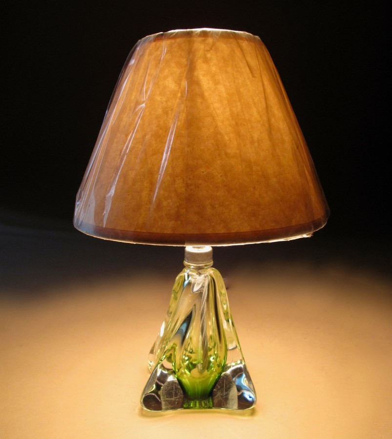 Antique Very Decorative and original Signed Val Saint Lambert Green and Clear Glass Table Lamp.