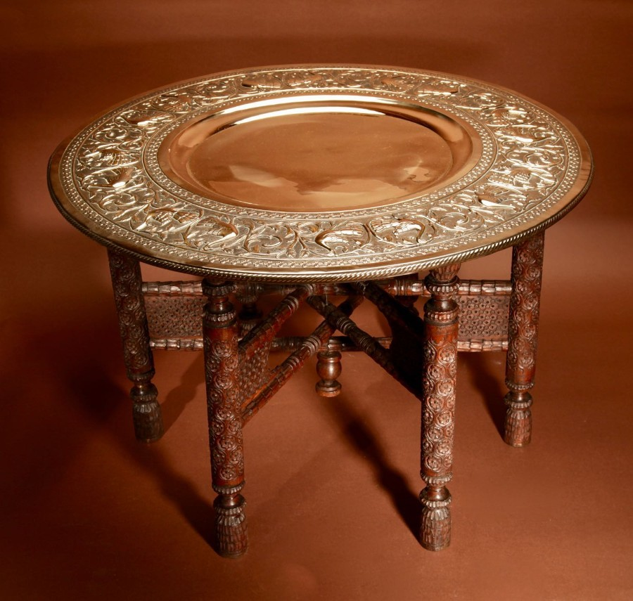 A Very Decorative Anglo Indian Middle Eastern Possible Mughal Empire Folding Coffee Table. Circa ...