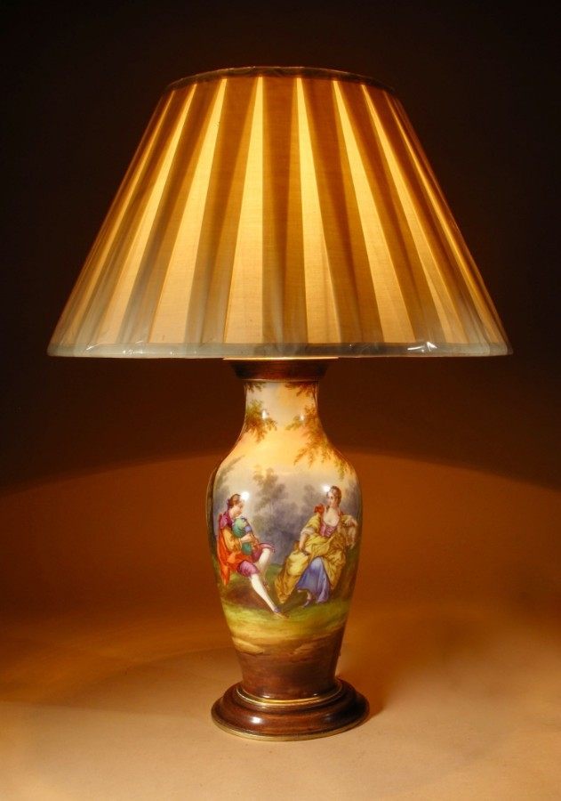 A Very Decorative French Finally Hand Painted Porcelain Lamp, Circa 1870