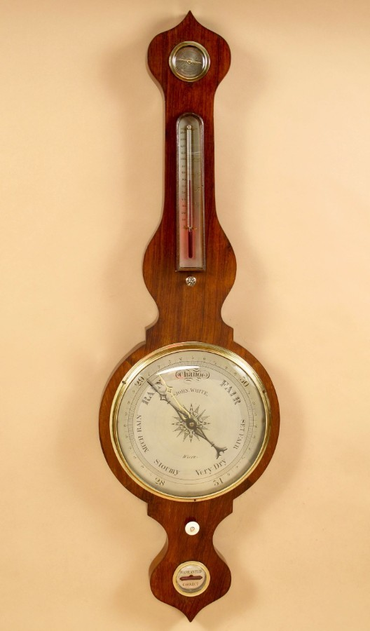 A Clean Rosewood Wheel Barometer, Signed: John White Ware. (Greater London) Second Half 19th Cent...