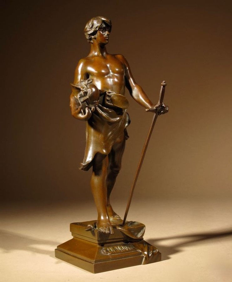 "A rare, very fine cast small bronze sculpture of:  "" En Triomphe ""  by: Antoine Bofill ( Barcelon..."