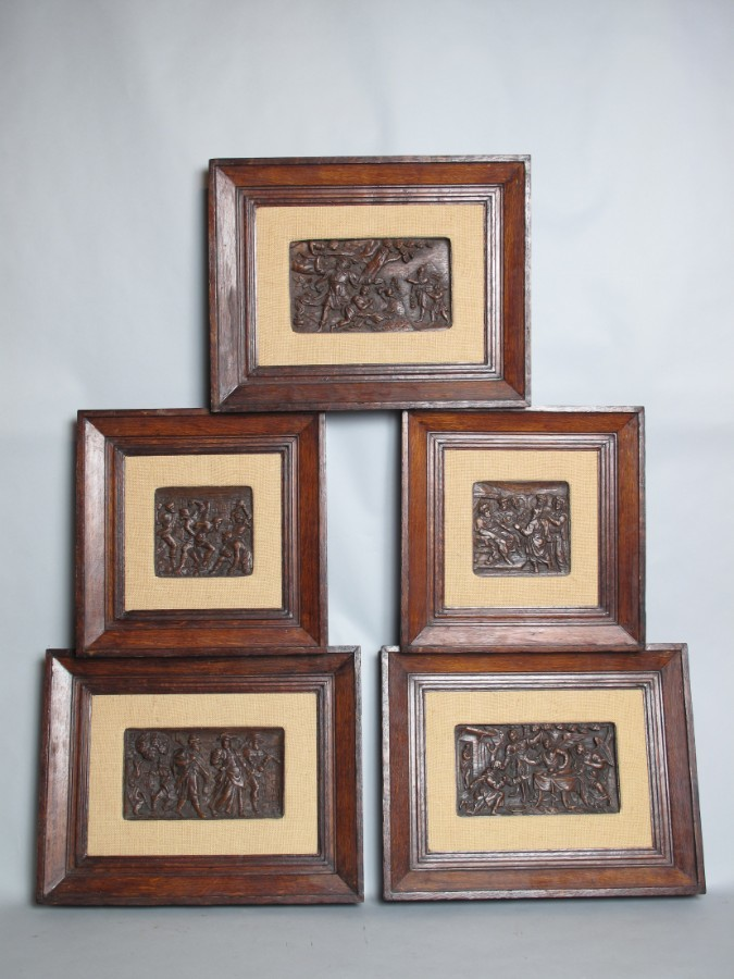 Dutch Oak 5 Relief Sculpture Carvings circa 1650