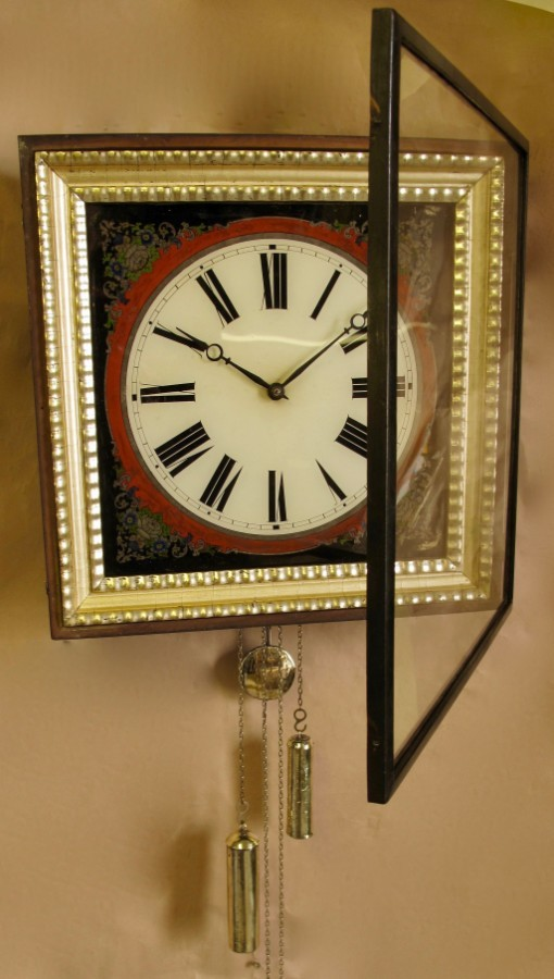 Antique Black forest Reverse Painted Glass (Verre Eglomise) Dial Wall Clock