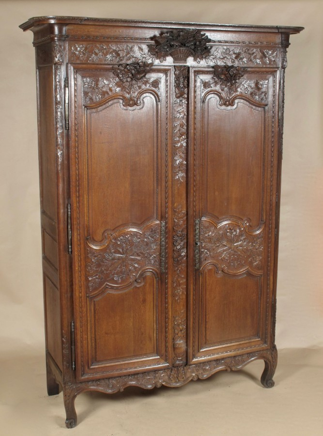Oak French Carved Normandy Wedding Armoire circa 1800
