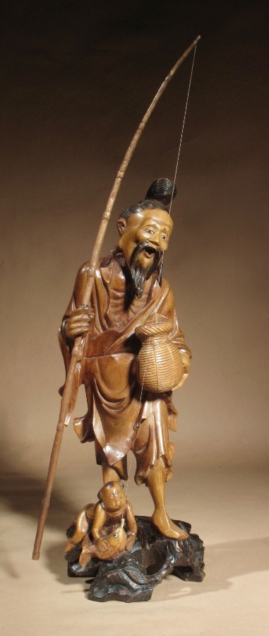 Chinese Hardwood Carving Sculpture of a Fisherman