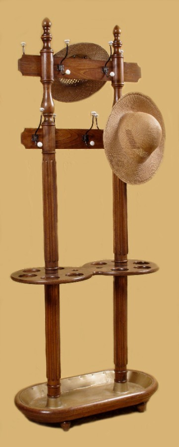 Double Sided Free Standing Elm Wood Hall Tree, Coat, Umbrella, Stick, Hat Stand
