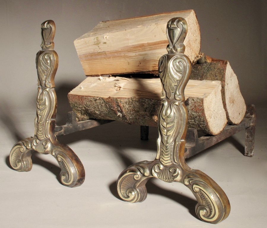 Antique A Very Decorative Pair of Cast Brass/iron Chenets Fire Dogs
