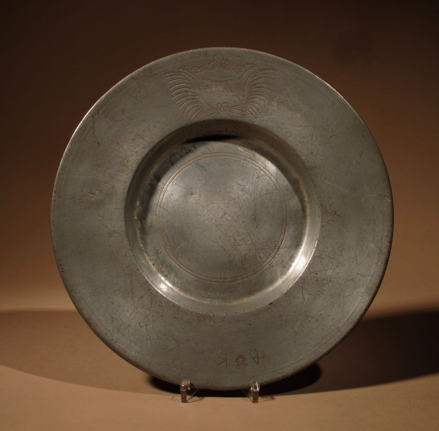 "An Interesting Pewter Type Of ""Cardinal Hat"" Plate, Continental Germany/Switzerland. 18th Century..."