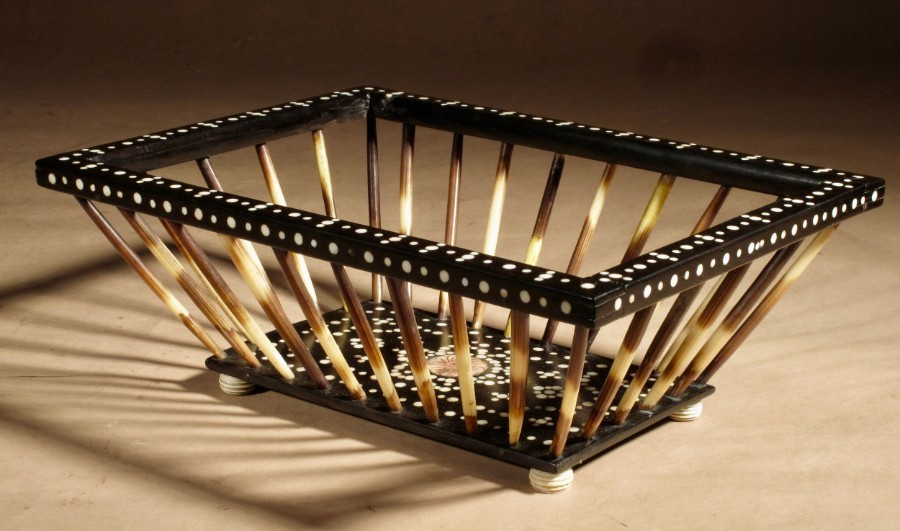 Antique Anglo Indian Porcupine Quill Work/Knitting Ebony Inlaid Basket