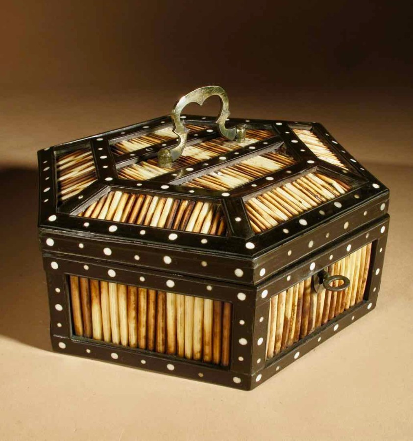 A Decorative Anglo Indian Ceylon Hardwood Quill Porcupine 6 sided Box circa: 1880-1900